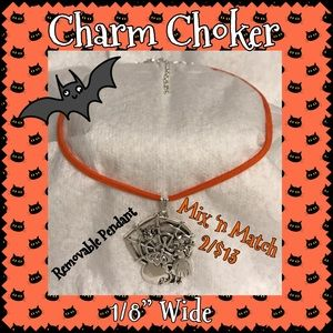 Orange Faux Suede Witch / Caldron Charm Choker
